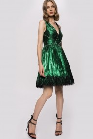 Rochie NISSA mini cu insertie din dantela si strasuri metalice Verde
