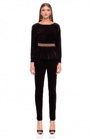 Pantaloni skinny NISSA eleganti din catifea Negru