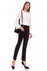 Pantaloni skinny NISSA eleganti cu detalii tip perle Negru