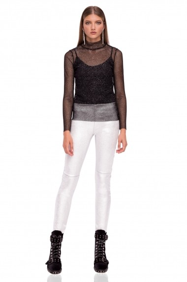 Pantaloni skinny NISSA slim din piele naturala Argintiu