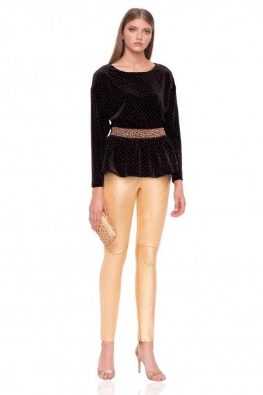 Pantaloni skinny NISSA slim din piele naturala Auriu