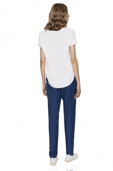 Pantaloni largi NISSA din cupro Bleumarin