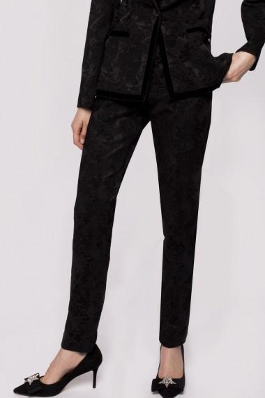 Pantaloni drepti NISSA din brocart Negru