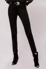 Pantaloni drepti NISSA aspect piele de caprioara Negru