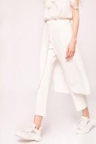 Pantaloni drepti NISSA cu fusta suprapusa Alb