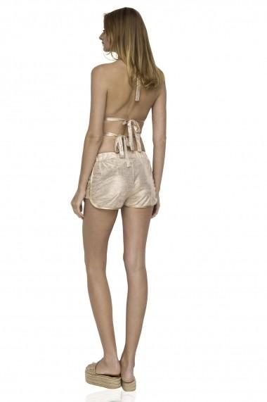 Pantaloni scurti NISSA scurti cu efect stralucitor Auriu