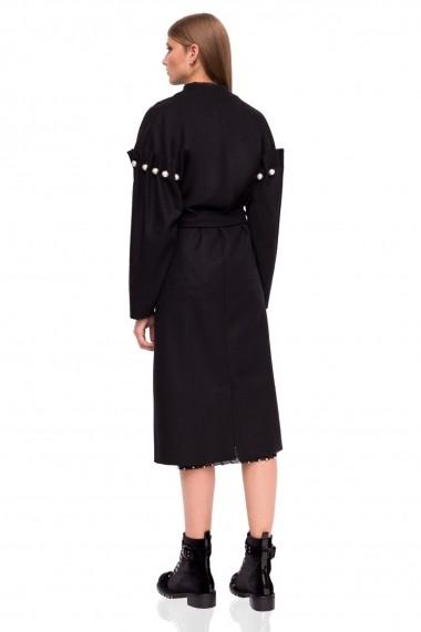 Palton NISSA din lana cu detalii pe maneci Negru