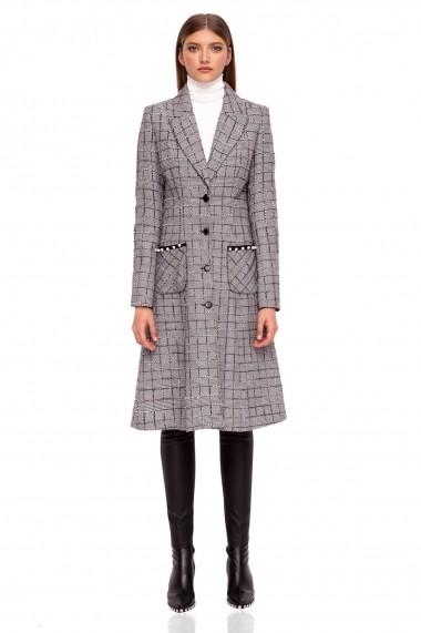 Palton NISSA elegant cu buzunare aplicate Carouri