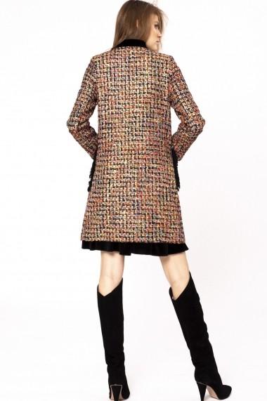 Palton NISSA din stofa buclata cu fir metalic auriu Multicolor