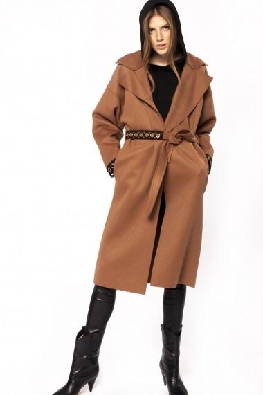 Palton NISSA din lana cu insertii metalice Maro