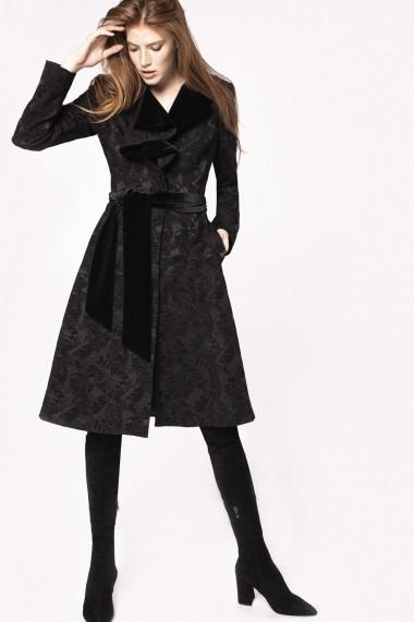Palton NISSA din brocart cu rever din catifea Negru