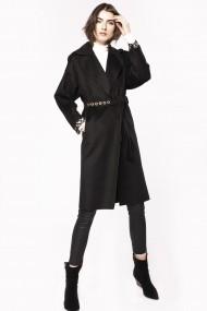 Palton NISSA din lana cu insertii metalice si cordon Negru