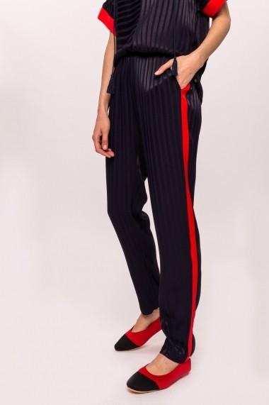 Pantaloni drepti NISSA din vascoza cu vipusca in contrast Bleumarin