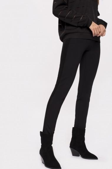 Pantaloni skinny NISSA cu banda laterala din catifea Negru