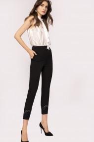 Pantaloni skinny NISSA skinny cu detaliu metalic Negru