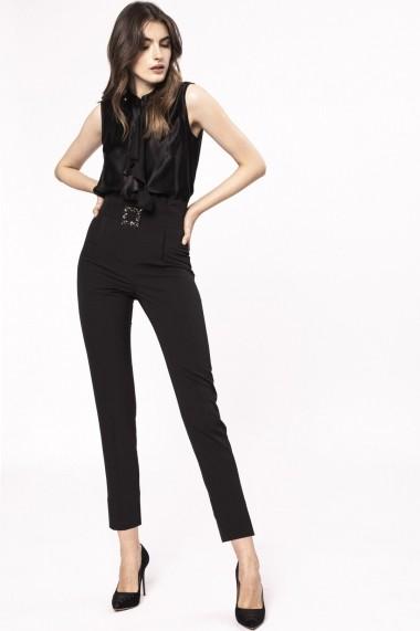 Pantaloni skinny NISSA cu talie inalta si detaliu tip bijuterie Negru