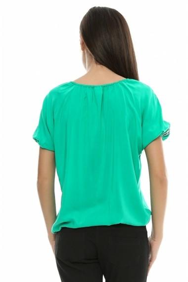 Bluza pentru femei Crisstalus Verde cu aplicatii de dantela brodata - els