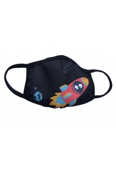 Masca de protectie din material textil kids Rocket Negru