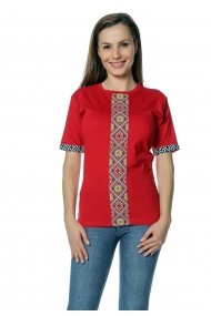 Tricou Crisstalus rosu bumbac cu insertii imprimate traditionale