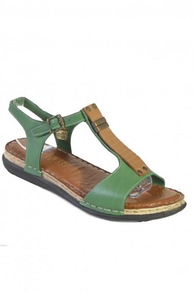 Sandale plate Mopeil din piele naturala Cara 250313 Verde