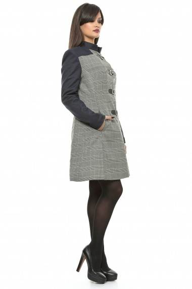 Pardesiu din stofa de lana - Sherlock Style - Sweet Rose of Mine gri