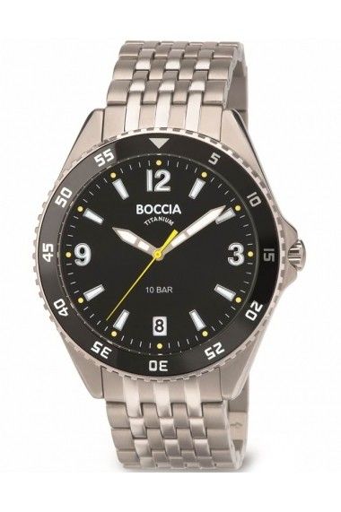 Ceas Boccia cod 3599-03, titan, carcasa 43mm, cadran negru