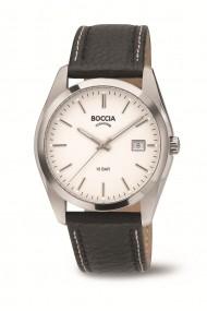 Ceas Boccia cod 3608-01, carcasa titan, 40mm, curea piele neagra