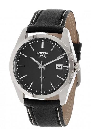 Ceas Boccia cod 3608-02, carcasa titan, 40mm, curea neagra piele