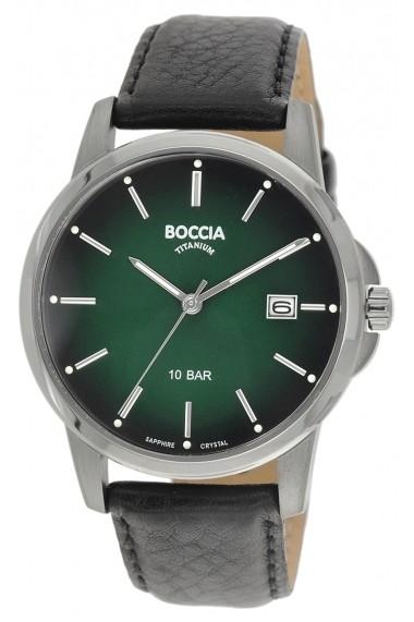 Ceas Boccia cod 3633-02, carcasa titan, 40mm, cadran verde