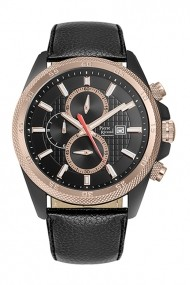 Ceas Pierre Ricaud P91014.K214CH, negru, cronograf, carcasa 46mm