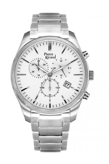 Ceas Pierre Ricaud P97015.5113CH, cronograf, inox argintiu, 45mm