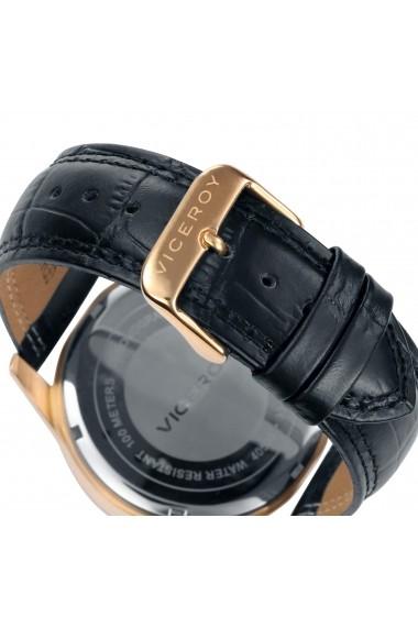 Ceas Viceroy cod 40503-57, carcasa inox auriu, 46mm, curea neagra