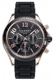 Ceas Viceroy cod 47893-95, carcasa inox Rose Gold, 42mm, curea silicon negru