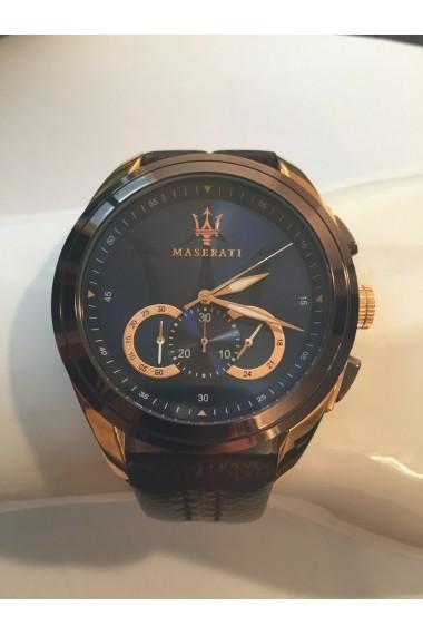 Ceas Maserati Traguardo R8871612024, carcasa inox bicolor, 45mm, curea maro