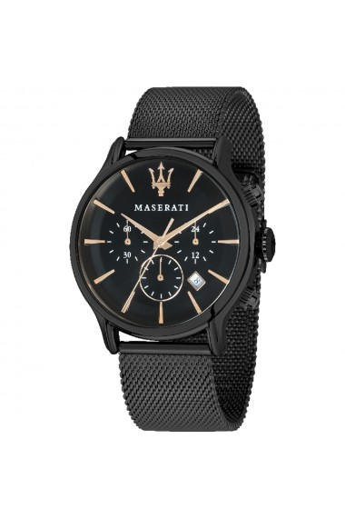 Ceas Maserati Epoca R8873618006, inox negru, carcasa 42mm, cronograf