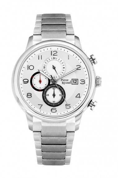 Ceas Pierre Ricaud P97017.5123CH, cronograf, inox argintiu, 45mm