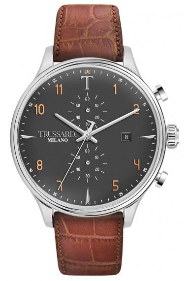 Ceas Trussardi T-Complicity R2471630001, carcasa inox, 45mm, curea maro