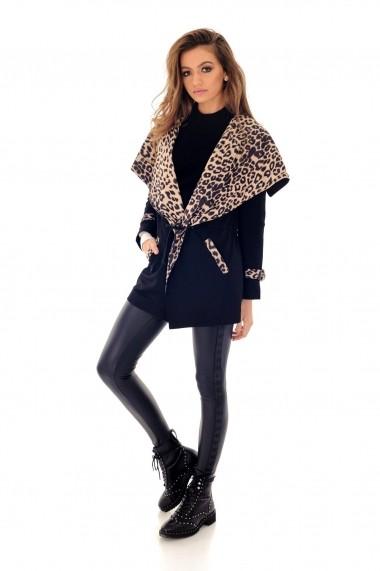 Jacheta Roh Boutique Neagra cu print leopard - JR418 Neagra