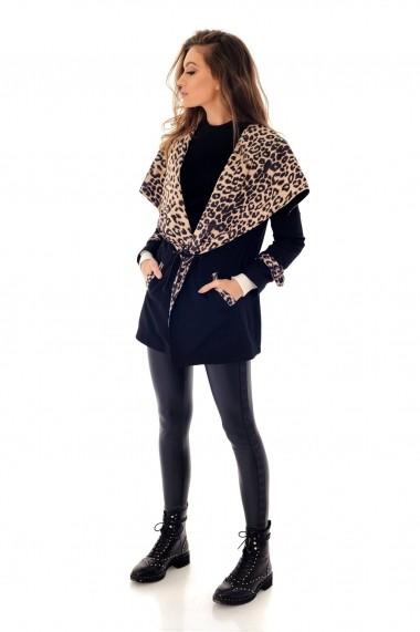 Jacheta Roh Boutique neagra, ROH, cu print leopard - JR418 negru