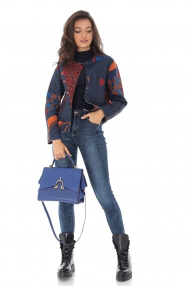 Jacheta Roh Boutique bleumarin, multicolora, cu buzunare, ROH - JR479 bleumarin multicolor