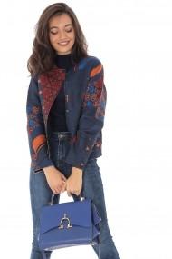 Jacheta Roh Boutique bleumarin, multicolora, cu buzunare, ROH - JR479 bleumarin|multicolor