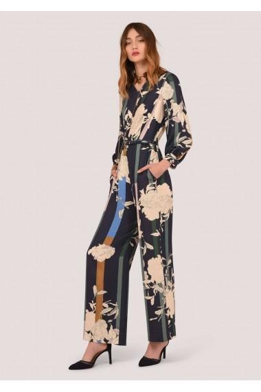 Salopeta Closet London bleumarin, cu imprimeu floral si maneci lungi, ROH - TR306 bleumarin multicolor