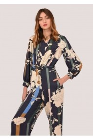 Salopeta Closet London bleumarin, cu imprimeu floral si maneci lungi, ROH - TR306 bleumarin|multicolor