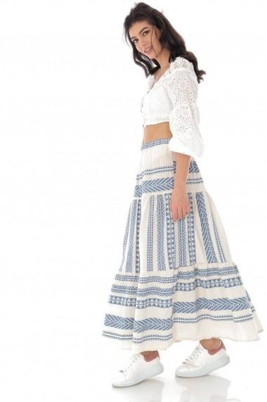 Fusta lunga Roh Boutique maxi,din bumbac,cu broderie Azteca- ROH -FR484 alb