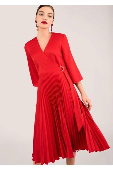 Rochie midi Closet London rosie plisata, cu cordon asimetric - ROH - DR3941
