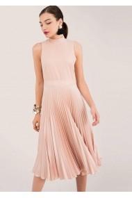Rochie midi Closet London Closet, roz pudrat, fara maneci, plisata - ROH - DR3935