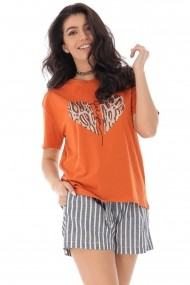 Tricou Roh Boutique portocaliu cu inimioara din paiete, ROH - BR2313 portocaliu