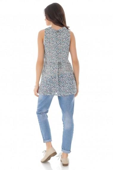Bluza Roh Boutique imprimata floral, cu guler - Gri - ROH - BR2287 gri