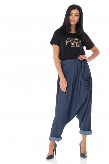 Tricou Roh Boutique din bumbac cu broderie Elefant - Negru- ROH - BR2327 negru