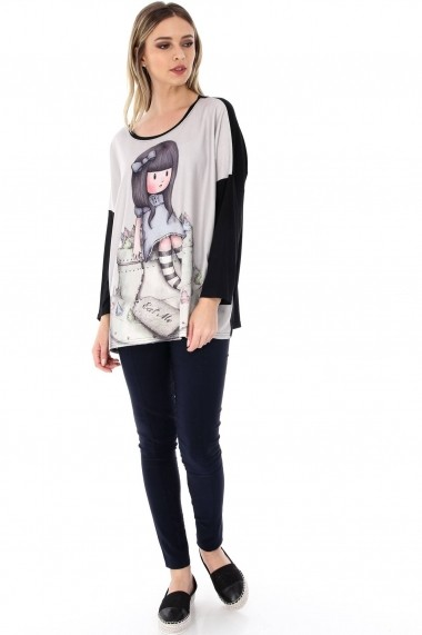 Bluza Roh Boutique neagra, ROH, cu imprimeu fata simpatica - BR1816 negru|multicolor One Size